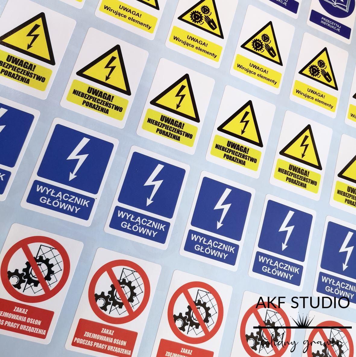 napisy samoprzylepne ostrzegawcze