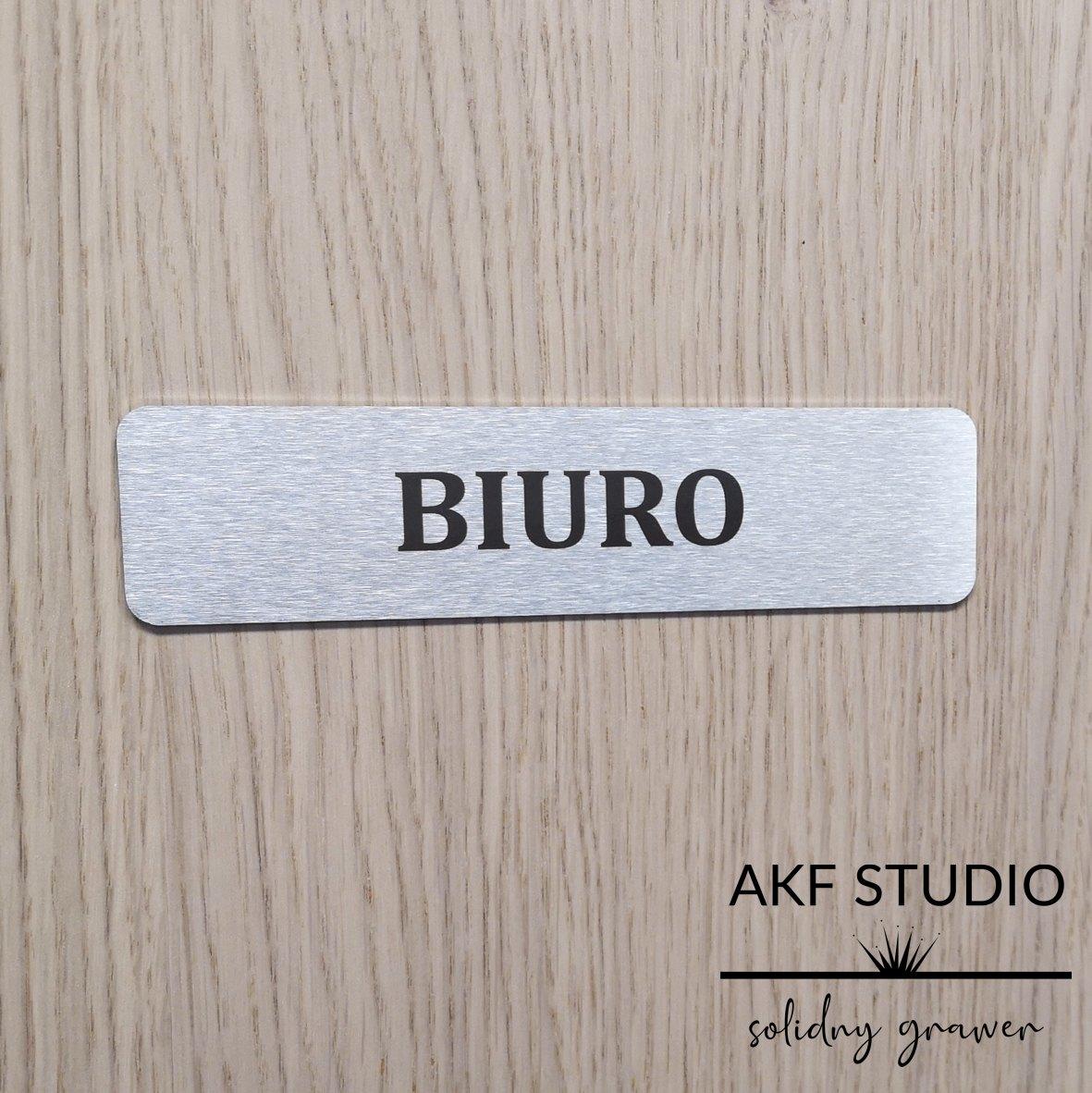 tabliczka na drzwi biura stalowa grawerowana