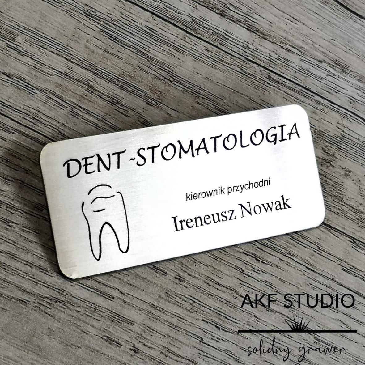 dentyfikator dla stomatologa stalowy grawerowany
