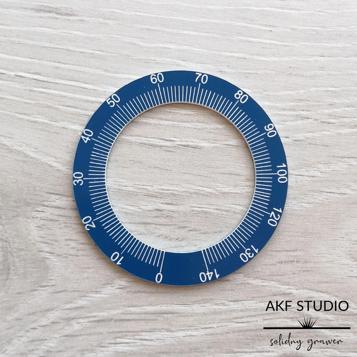 okrągła skala grawerowana laminat grawerski niebieski
