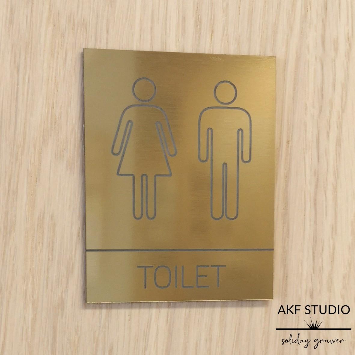 tabliczka na drzwi toalety laminat zlota grawerowana