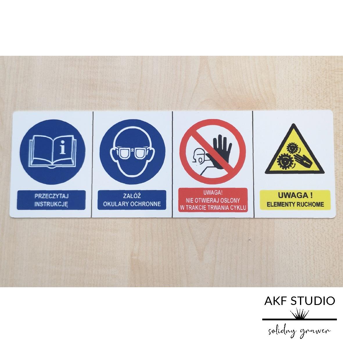tabliczka ostrzegawcza elementy ruchome druk uv