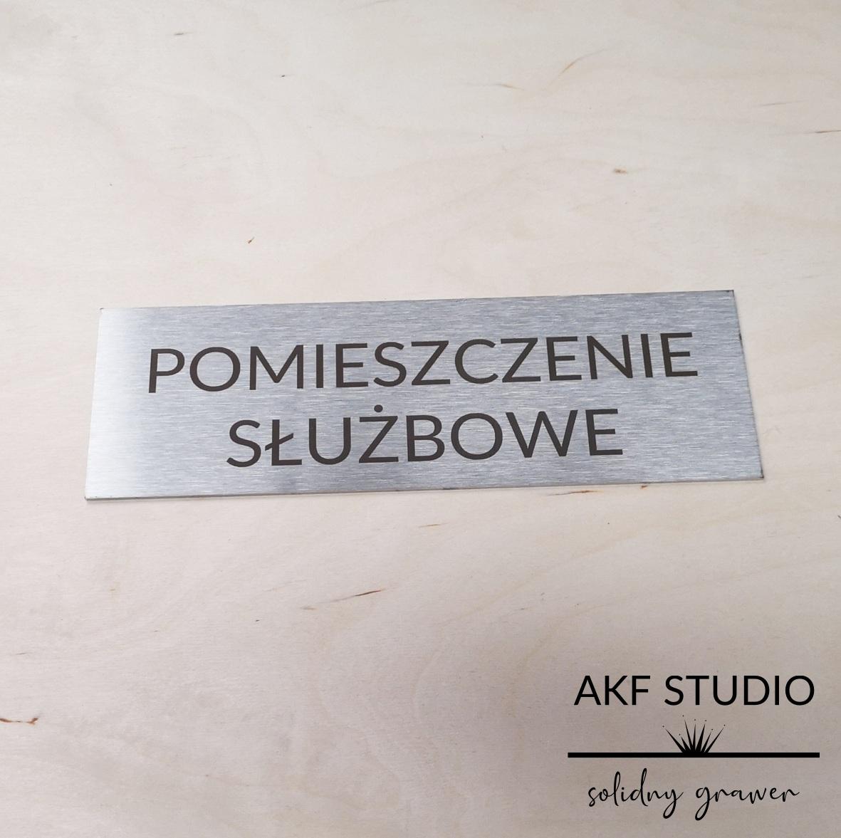 tabliczka stalowa pomieszczenie sluzbowe grawerowana