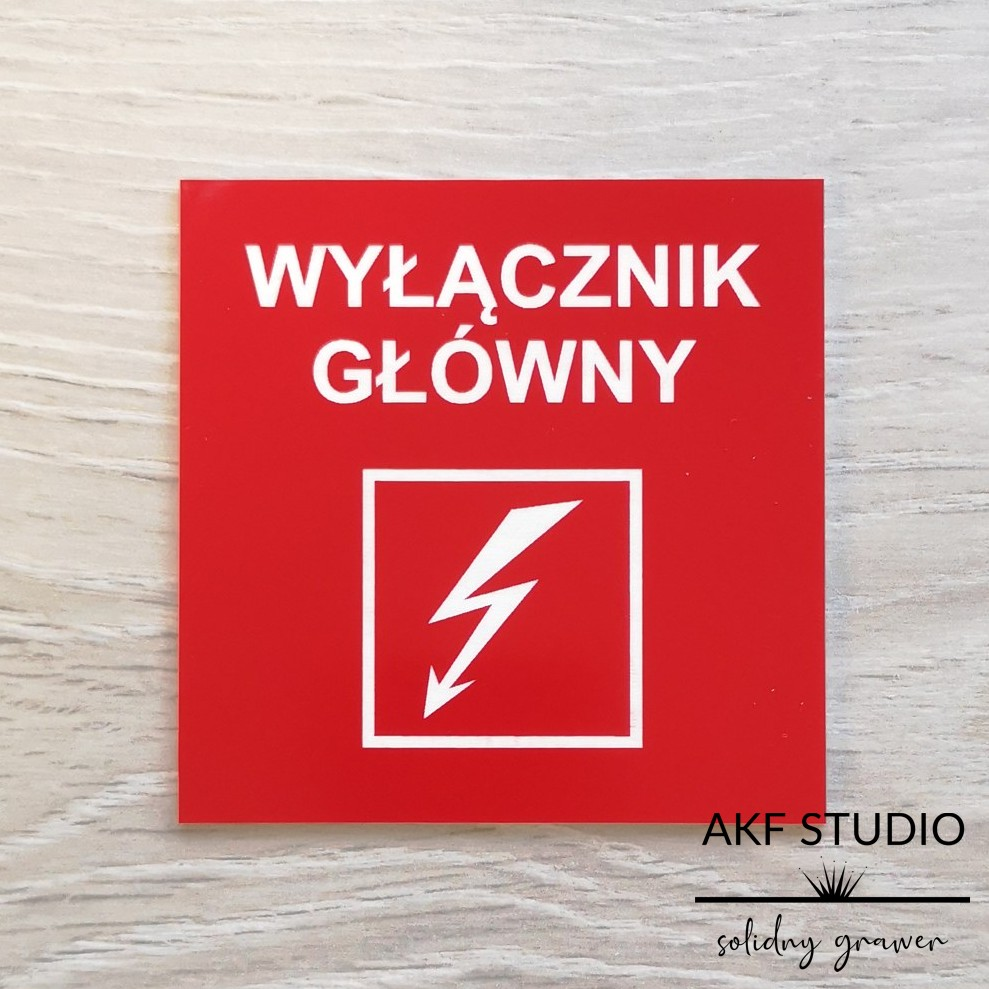 tabliczka wylacznik gêowny czerwona grawerowana